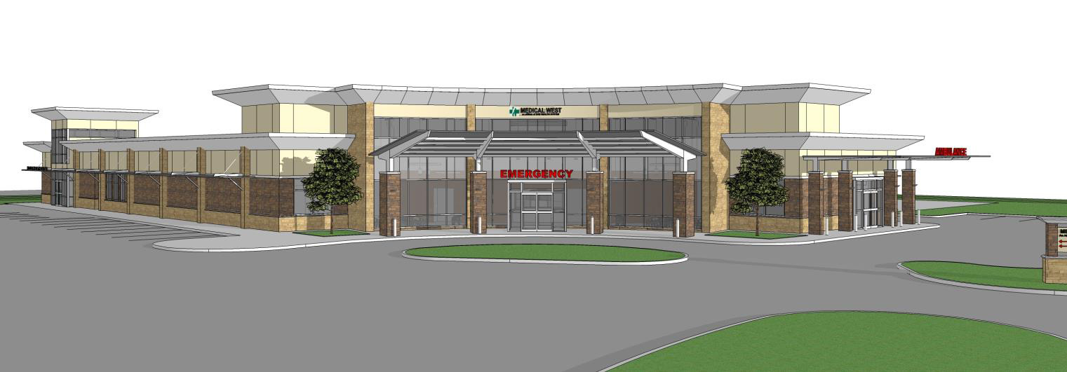 Rendering of Medical West Freestanding Emergency Department Intersection of Hwy 150 and I-459 in Hoover, Alabama